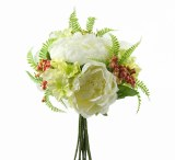 Mixed Artificial Peony, Hydrangea & Berry Bunch Cream