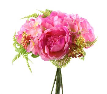 Mixed Artificial Peony, Hydrangea & Berry Bunch x 10 Stems Pink