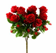 Red Artificial Rose Bunch x 15