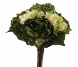 Artificial Mixed Peony Rose Bouquet Green x 13 Stems