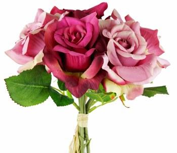 Faux Rose Bundle Fuchsia/ Mauve x 5