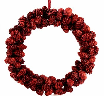 Christmas red wreath with pine cones 20cm