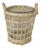 Round white wicker basket with glass -17cm