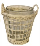 White woven wicker basket with glass,height- 20cm
