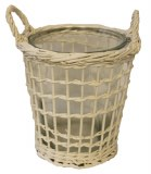 Round white wicker basket with glass 22cm