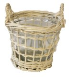 Round white wicker basket with glass, height- 13cm