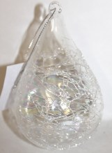Glass iridescent bauble 7cm x 11.5cm 6 pcs