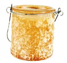 Orange frosted hanging tealight holder