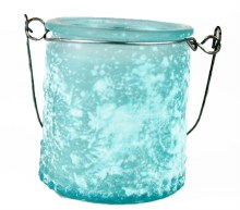 Blue frosted hanging tealight holder