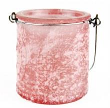 Pink Frosted Hanging Tea Light Holder