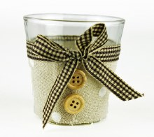 Glass tealight holder with hessian and buttons 6.5x 6.5cm