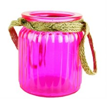 Pink jam jar with rope 7.5cm x 9cm