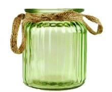 Green jam jar with rope handles 9cm x 7.5cm