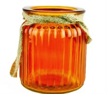 Orange jam jar with rope handles 7.5x 9cm