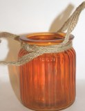 Orange jam jar with rope handles 7.5x 9cm