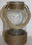 Glass vase candle holder with rope handle 11 x 20cm
