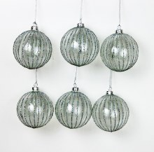 6 x Handblown Glass Christmas Baubles 8cm Glitter Stripe