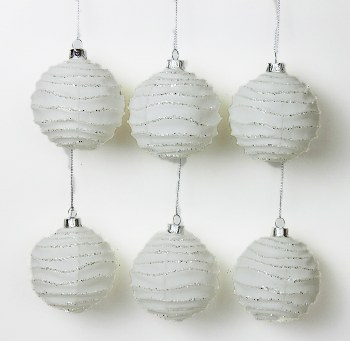 6 x Handblown Glass Christmas Baubles 8cm White Glitter