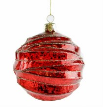 6 x Handblown Glass Baubles Red/Gold