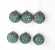 6 x Handblown Glass Christmas Baubles Teal