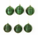 6 x Handblown Christmas Glass Baubles Green & Gold 8cm