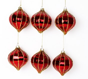 6 x Handblown Christmas Glass Baubles 8cm Red & Gold