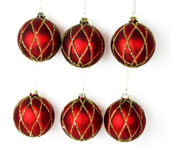 6 x Handblown Glass Christmas Baubles 8cm Red & Gold