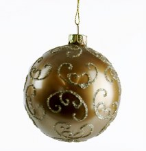 Glass Christmas Handblown Bauble Gold 6pcs x 8cm
