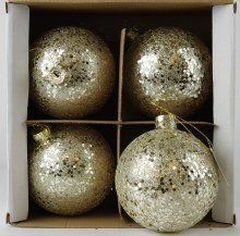 Glass Christmas Baubles Glitter 10cm x 4pcs