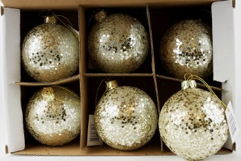 Glass Christmas Baubles Glitter 8cm x 6pcs