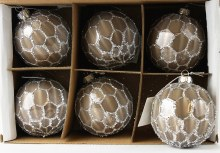 Glass Christmas Baubles Grey Glitter 8cm x 6pcs