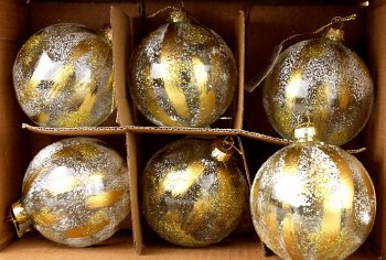 Glass Baubles Clear & Gold 8cm x 6pcs