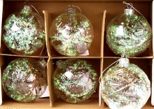 Glass Baubles Clear & Iridescent 8cm x 6pcs