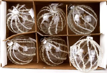 Glass Baubles Clear & White Beaded 8cm x 6pcs