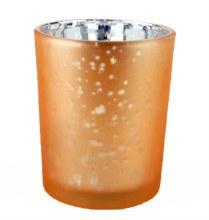 Glass Tea Light Holder Champagne/ Silver 6.5cm