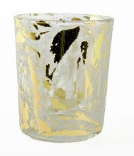 Glass Tealight Holder Grey/ Gold Frosted 7cm x 6cm