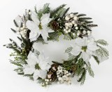 White poinsettia wreath 22in