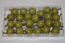Green artificial apples on wire 2.5cm x 24