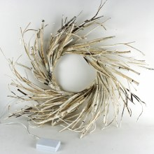 Christmas Wreath White Birch With Battery Lights 50cm