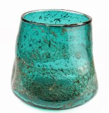 Hand Blown Glass Vase Turquoise/ Gold 21cm