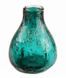 Hand Blown Glass Vase Turquoise/ Gold 17cm