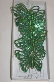 Green glitter decorative butterflies x 12