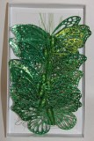 Green glitter decorative butterfly x 12