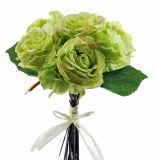 Rose bunch with raphia green