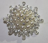 Diamante/ pearl snowflake wedding brooch