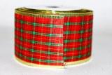 Christmas tartan wired edge ribbon 6.3cm x 10yards