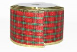 Red and Gold Christmas Wired Edge Tartan Ribbon 6.3cm x 10y