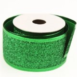 Green glitter Christmas wired edge ribbon 5cm x 10yards