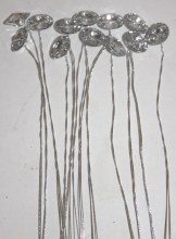 12 x diamante round florist picks