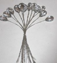 12 x diamante teardrop on wire-Clear